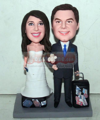 Travel themed wedding cake toppers 10833