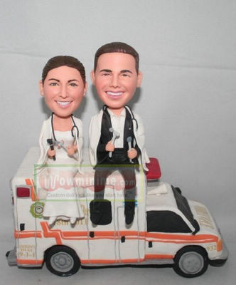 Doctors on ambulance cake toppers