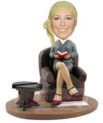 Reading girl custom figurine
