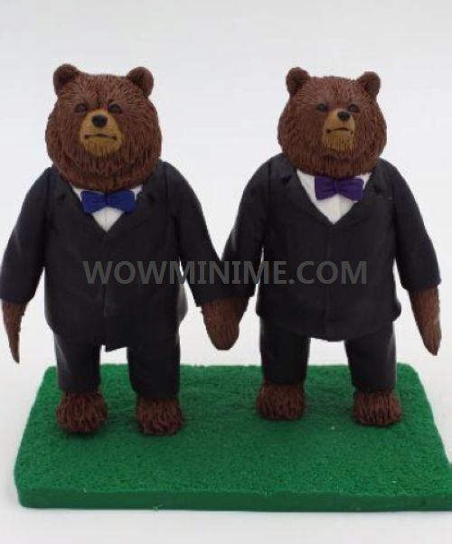 custom bears in suits cake topper