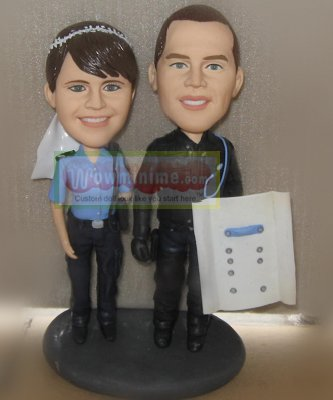 Custom wedding figurine- police uniform