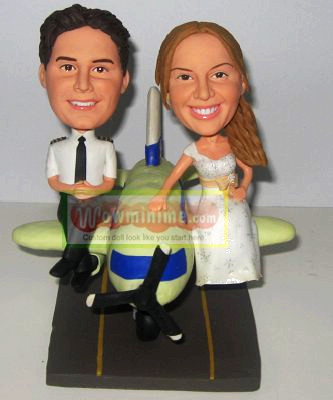 Airplane Pilot wedding cake topper- 100202