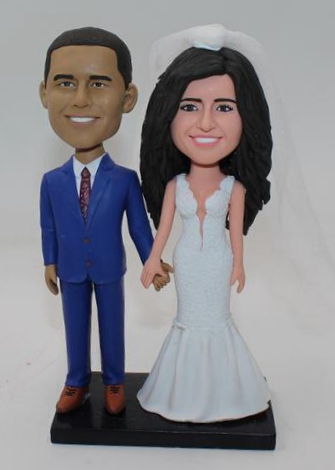 Custom wedding cake topper with African American groom